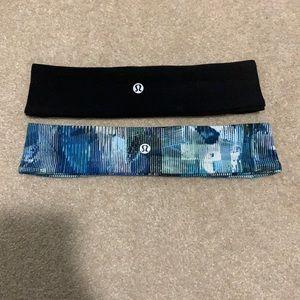 Lululemon blue pattern and black headbands
